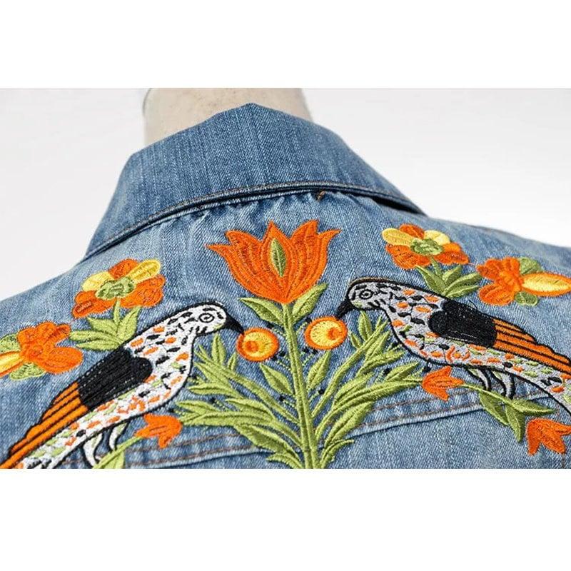 秋の女性のヴィンテージタイガー刺繍デニムジャケットラペルロングスリーブシングルブレストのファッションの基本的なコートフェスデアンジャンSbwm8087