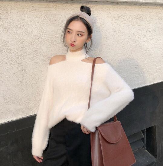 [55555SHOP] 韓国ファッションファー ニット セーター 体型カバー/ドルマンスリーブニット ルームウェア/セーター/ボーダー/無地/マタニティ/ゆる系 ワンピース