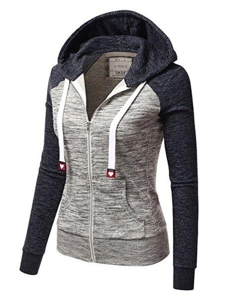 レディースファッションジップアップパーカージャケットカラーブロックカジュアルスエットシャツ