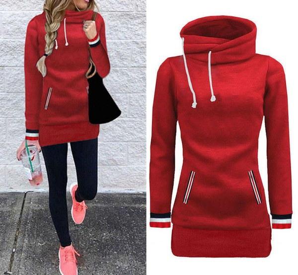 秋冬レディースファッションフィットロングシャツポケットロングスリーブカジュアルVネックTシャツスカート