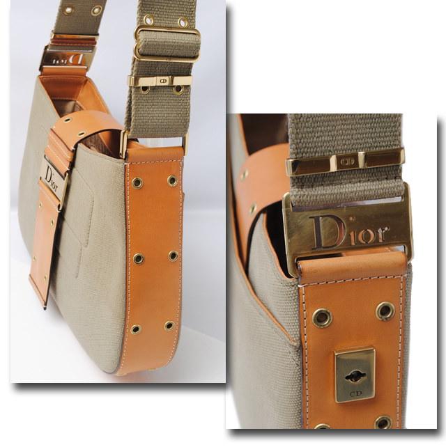 クリスチャン・ディオール ショルダーバッグ Christian Dior ストリートシック カーキ/キャメル ジャガード/レザー【中古】