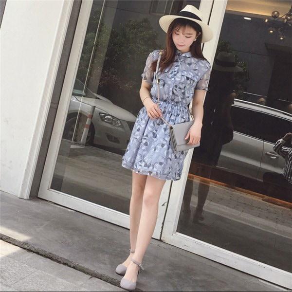 レディースワンピース 韓国無地 スリム 韓国のファッション    プリントワンピース 半袖ワンピース  学院風 ハイセンス 着心地いい おしゃれ 夏 スリム セール★ レディースワンピース