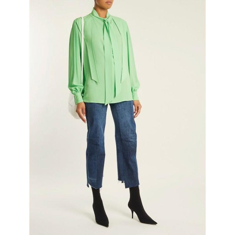 バレンシアガ レディース トップス ブラウス・シャツ【Gathered blouse】Neon-green