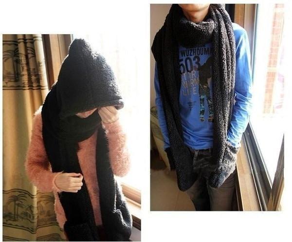 女性の女性の冬暖かいぬいぐるみフェイクファーフードキャップ帽子スカーフスカーフ手袋