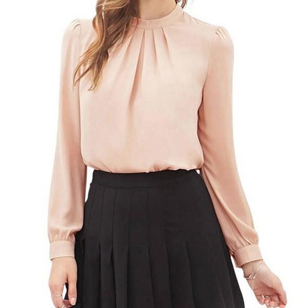 女性のエレガントな秋のシャツブラウス長袖のスタンドカラーレディースシフォンブラウストップファッションオフ