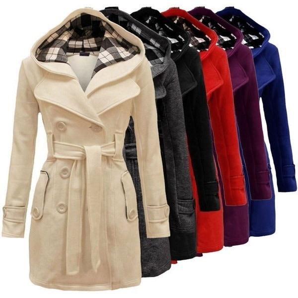 女性のファッションパーカーファーファーラペルダブルブレスト厚いウールトレンチウィンターコートロングジャケットOutw