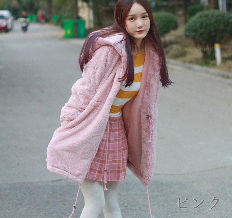 [55555SHOP]パーカー モコモコ ドロスト 純色 可愛い カワイイ 全2色