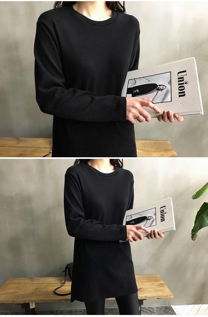 [ナンニン9]【送料無料】毎日にでも着たい◎スリット入りシンプルロンT♪ロンT 無地 レディース アメカジ/Tシャツ レディース おしゃれ ロング コットン/トップス レディース 冬 大きいサイズ:naning9(