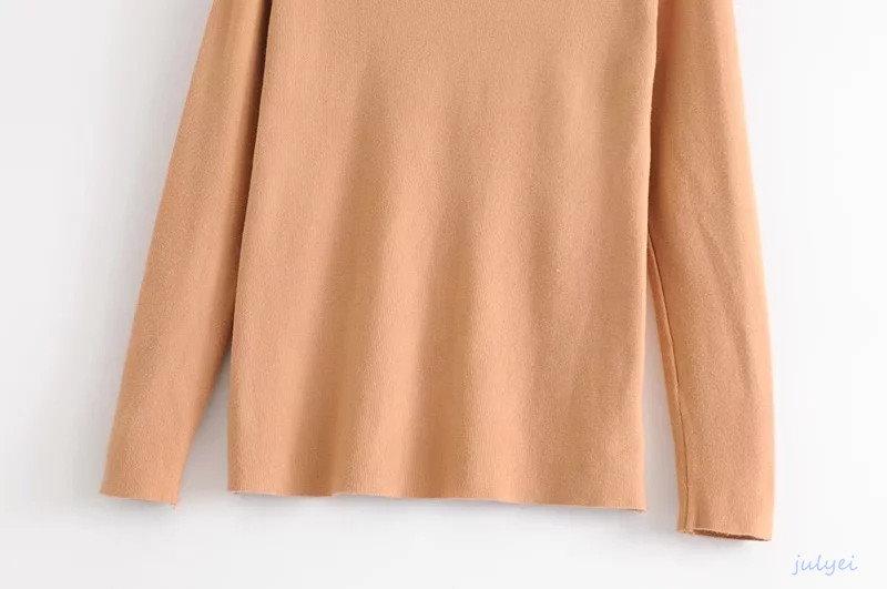 全4COLOR   秋冬 ニット レディース ニットウェア  無地 長袖 おとな シンプル   ブラック、ホワイト、ライトオレンジ、コーヒー色
