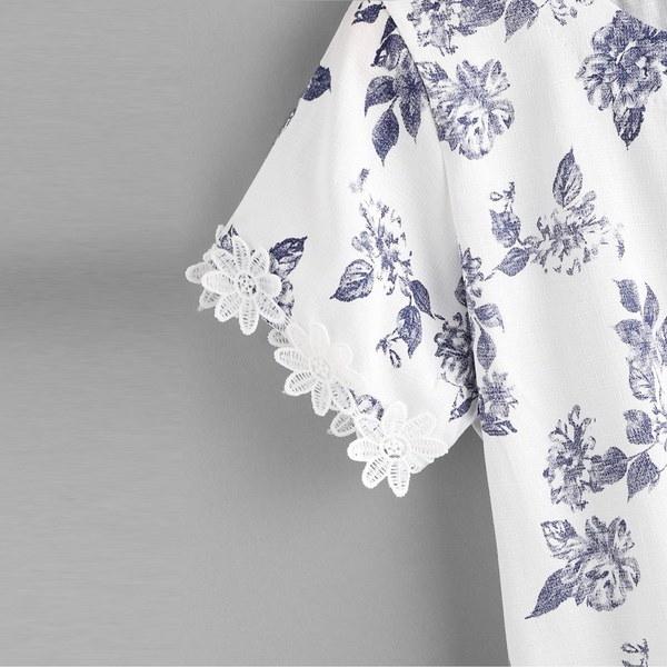 ホット販売!女性刺繍入り半袖花柄プリントブラウスカジュアルトップスTシャツ