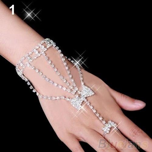 Womens Bridal Wedding Crystal Rhinestone Slave Bracelet Hand Harness Ring Cuff