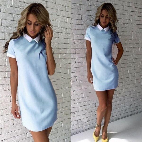 夏の秋の女性のカジュアルドレス半袖のオフィス服レディースファッションイブニングパーティーカクテルM