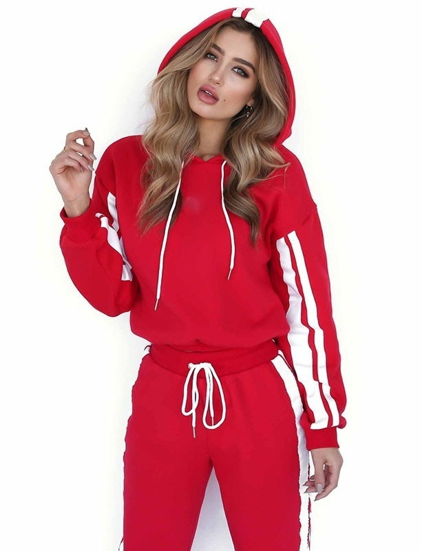 2017 Autumn Top Chic Women Sporty Causal Patchwork Two-piece Suit Tracksuit Hoodie + Pants 2pcs Athl