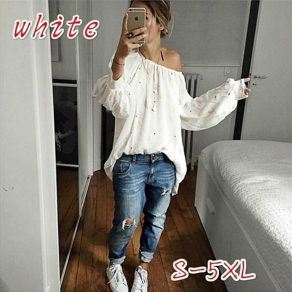 長袖プリント女性のコットンTシャツスラッシュネックスカルプリントカジュアルトップスプラスサイズ