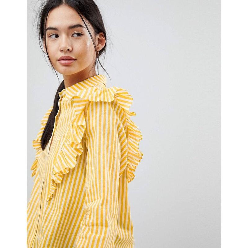 ノイズィーメイ レディース トップス ブラウス・シャツ【Noisy May Striped Ruffle Shirt】Multi