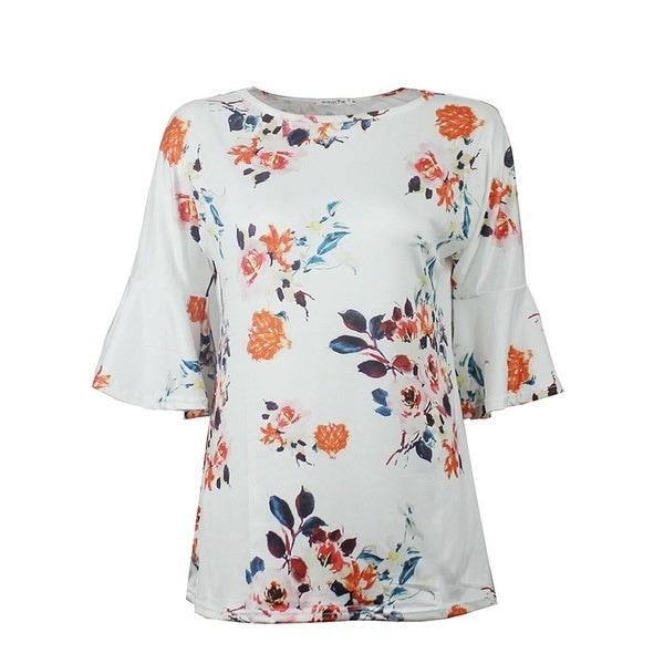ファッション女性ルースTシャツ半袖プリントフラワーシャツ