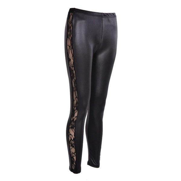 HAZY Fashion New Women PU Leather Gothic Punk Leggings Pants Lace Skinny Trousers
