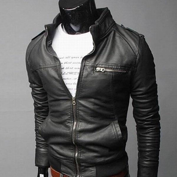 メンズピュアカラースタンドカラーオートバイレザージャケット
