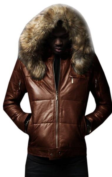 メンズロンググースジャケット冬服ファーカラー付きパーカーダウングース