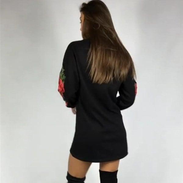 秋冬女性ファッション刺繍カジュアルルーズプルオーバーロングスリーブTシャツドレス
