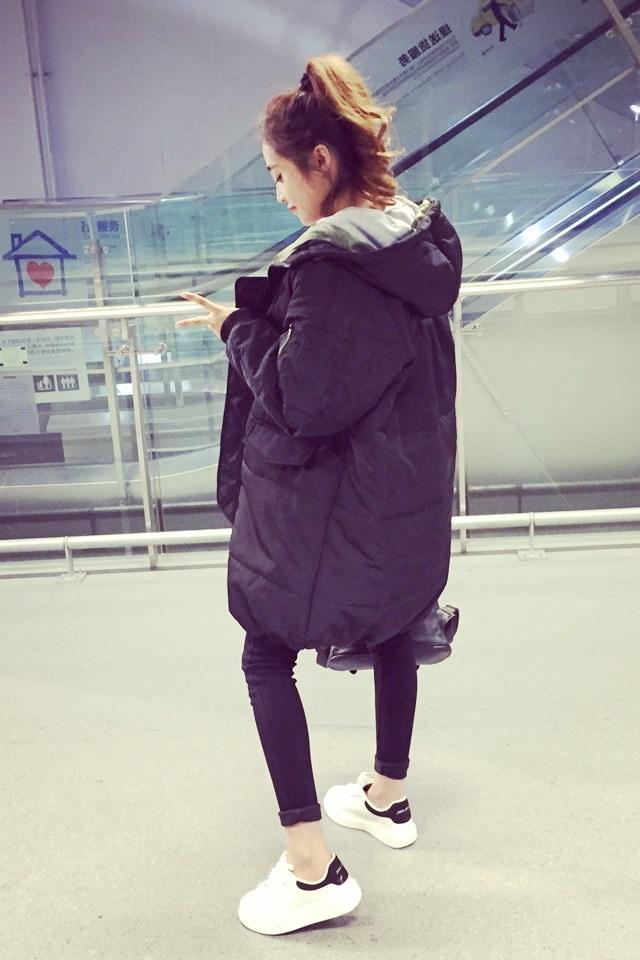 ルーズビッグヤードの長いセクションの綿パッド入りのジャケット原宿スタイルのファッション
