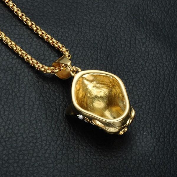 レトロヒップホップチタンスチールヒョウヘッドダイヤモンドスタッズド男性ネックレス