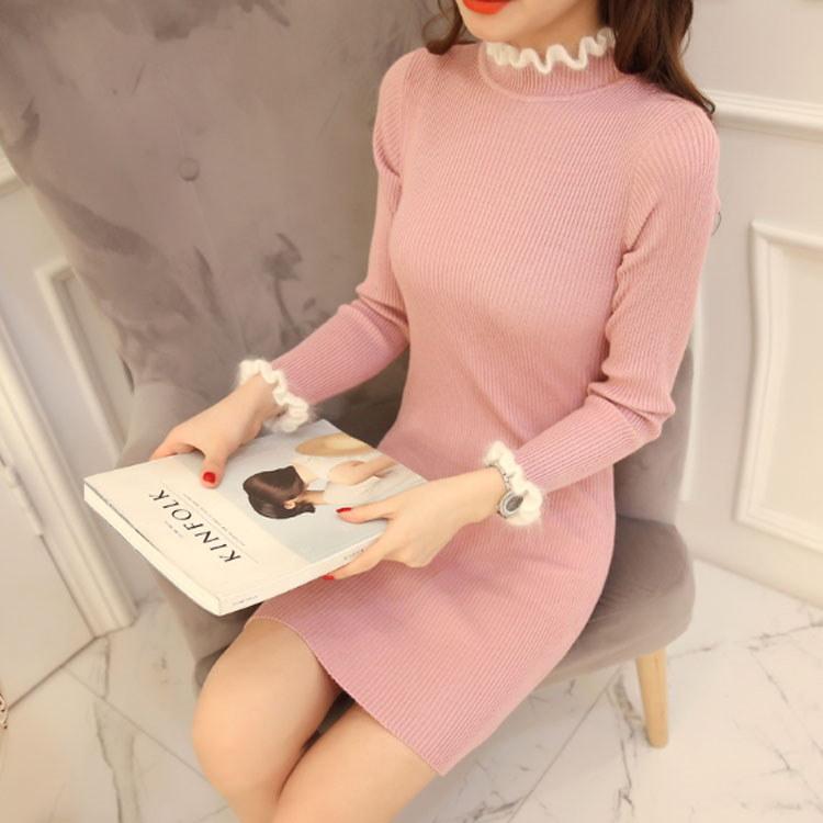 衿と袖のバイカラーフリルが可愛い。リブニット ロングニット ニットミニワンピース レディース ワンピース ミニ ニットワンピース ニットワンピ リブ