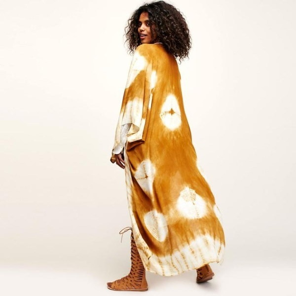 ファッションポイント女性プリントシフォンルーズショール着物カーディガントップカバーアップシャツブラウス