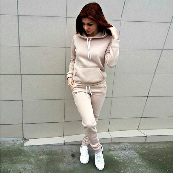2017ファッション秋の女性のトラックスーツロングスリーブフード付きスウェットシャツ+ロングパンツ2ピースセットスポーツ
