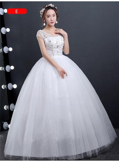 ドレス 花嫁ドレス ウエディングドレス 編み上げタイプ ロングドレス パーティドレス Aライン プリンセスドレス 刺繍 レース お嬢様 結婚 フレンチショルダー 大きいサイズ 格安 二次会/花嫁