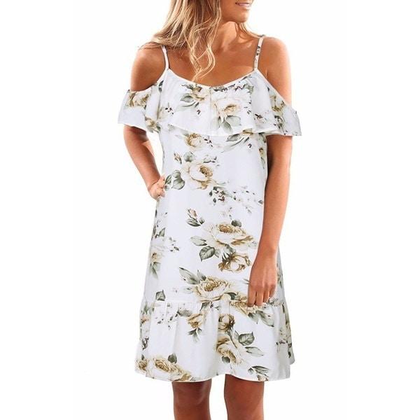 人気の新しい暑い夏の女性ファッション半袖ストラップレスホルター花のショルダードレスCオフ