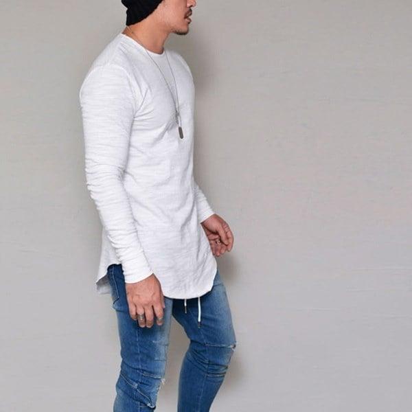Mens Slim Stylish Long Sleeve Fashion Casual Shirt T-Shirt Tops