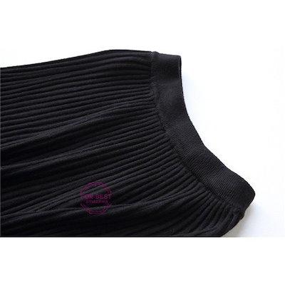 リブ編みスカート レディース ニットスカート ロングスカート プリーツ スカート ウール きれいめ 着痩せ 新春 新春-P905