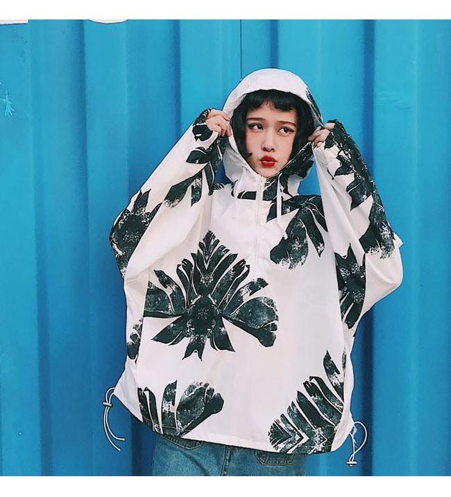 アウター ジャケット 上着  大きいサイズ レディース 可愛い 羽織 女性 オーバーサイズ 秋服 お洒落 ウインドブレーカー ハワイ風 パーカー プルオーバー トレーナーシャツ