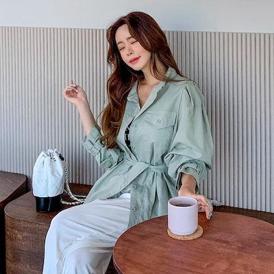 PPGIRL(韓国ファッション)♥送料 0円★ PPGIRL_E121 Roy buckle shirt / Linen shirt / casual shirt / Outer / Linen blouse / Belt shir
