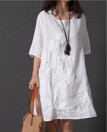 レディースファッション夏のスタイルフェミニーズVestido Tシャツルース女性コットン刺繍カジュアルドレスPlu