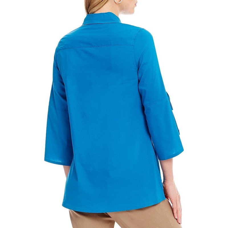ウエストバウンド レディース トップス ブラウス・シャツ【Westbound Button Front Bell Sleeve Shirt】Blue