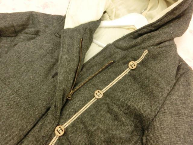 wordtrobe/ワードトローブ 長袖 中綿入り フード付き ショートジャケット F グレーツイード【中古】