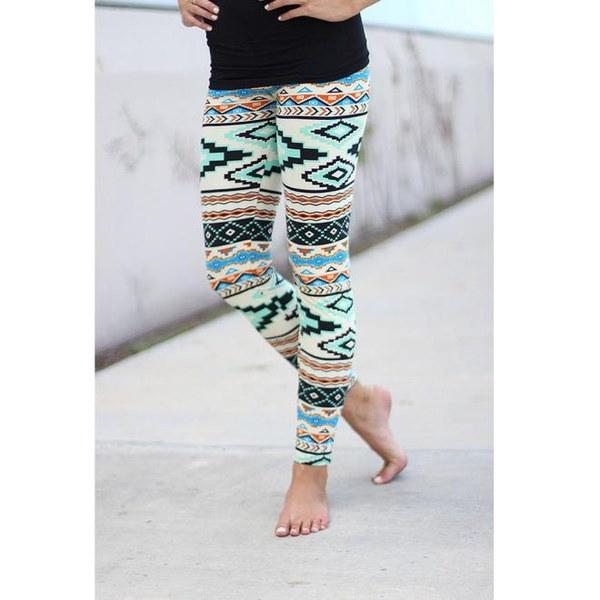 ワンピースファッション女性セクシーなスキニージオメトリックプリントストレッチパンツレギンス(サイズ:S、M、L、XL)