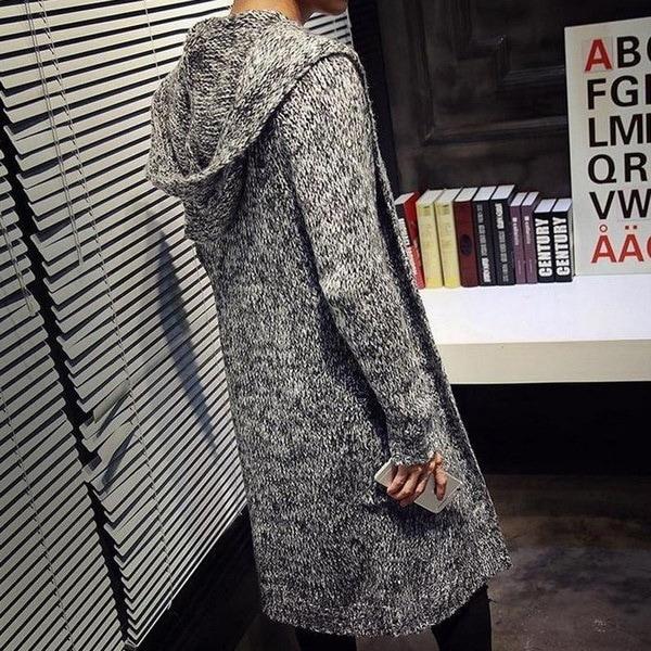 秋冬ゆるいロングメンズカーディガンセーター新ファッションビッグサイズジャンパーメンズフード付きスーターKni