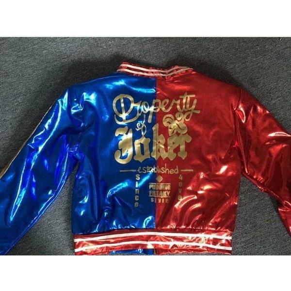 女性の自殺スクワッドデラックスハーレークインのコスチュームコートジャケットトップス