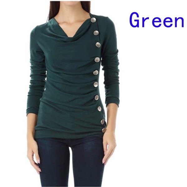 New Fashion Women Slim Single-breasted Basic T-shirt Autumn Pure Color Cotton Tee Tops
