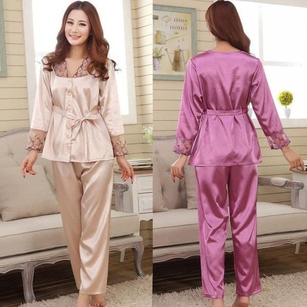 2pcs Women Silk Lace Long Sleeve Causual  Sleepwear Pajama Set