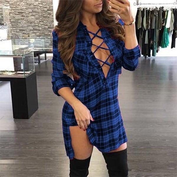 女性ファッション夏の秋のブラウスチェック柄の長袖セクシーなディープVシャツ女性のネクタイは、バンドヒップ