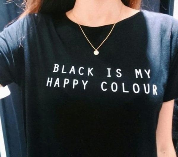 ブラックは私のハッピーカラーTシャツ女性原宿Tシャツ半袖コットンブラックカジュアルトップス