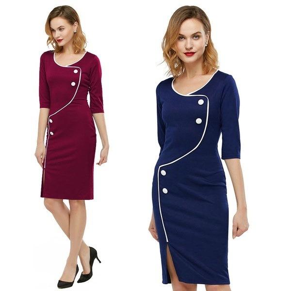 Gamissエレガントなヴィンテージドレス女性スプリットロウスリークォータースリーブディープニーボディコンペンシルドレス