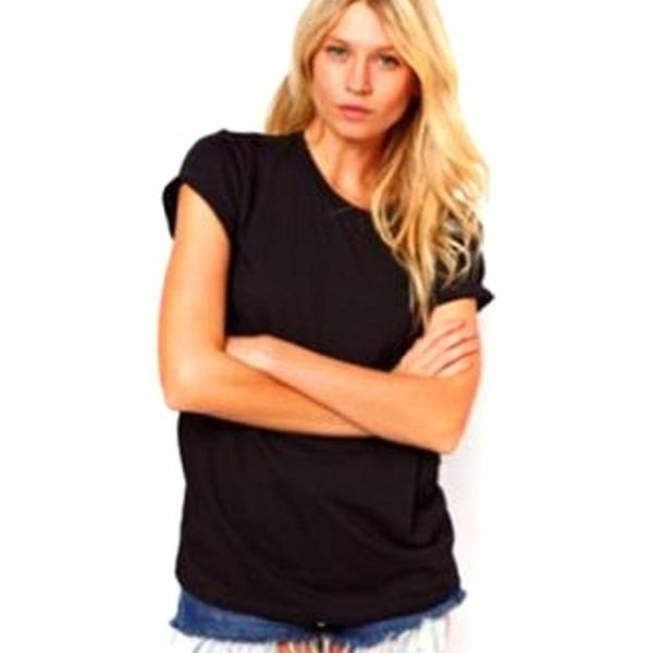 Black  Women fashion Hollow Angel Wings Backless T-shirt loose Round neck short sleeve shirt  S-XXL