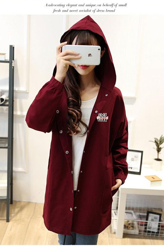 アウター コート トレンチコート レディース 女性 羽織 ロングコート 韓国ファッション 学園風 春物 秋 刺繍 ガーリー