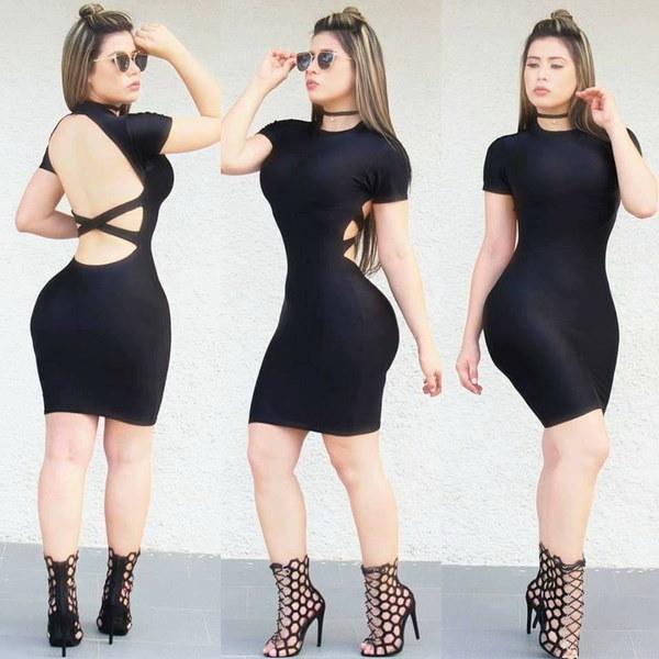 3色女性ソリッドシースセクシーなバックレスパッケージヒップバンデージクリスクロスオーバーネック半袖ミニパ