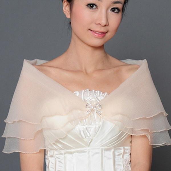 結婚式のブライダルオーガザラップショールの肩当たりボレロコートパーティーカクテル素晴らしい